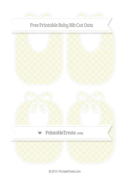 Free Beige Checker Pattern Medium Baby Bib Cut Outs