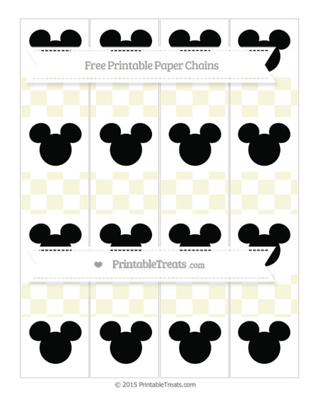 Free Beige Checker Pattern Mickey Mouse Paper Chains