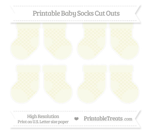 Free Beige Checker Pattern Small Baby Socks Cut Outs