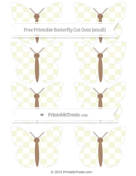 Free Beige Checker Pattern Small Butterfly Cut Outs