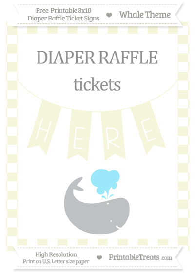 Free Beige Checker Pattern Whale 8x10 Diaper Raffle Ticket Sign