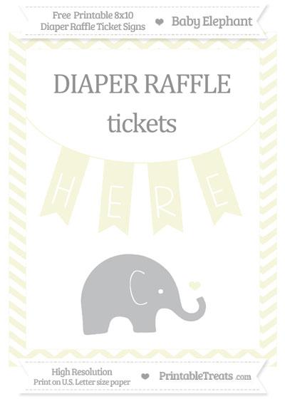 Free Beige Chevron Baby Elephant 8x10 Diaper Raffle Ticket Sign