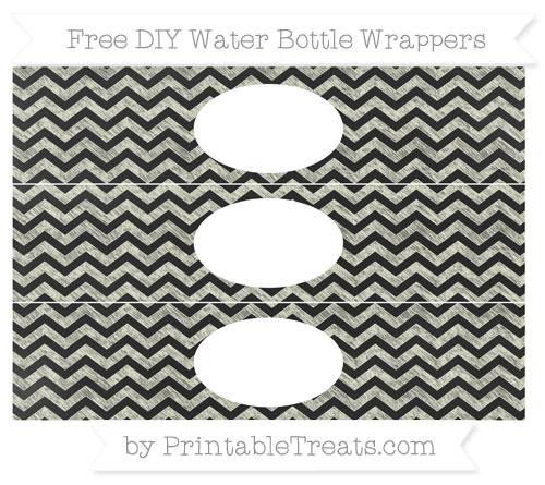 Free Beige Chevron Chalk Style DIY Water Bottle Wrappers