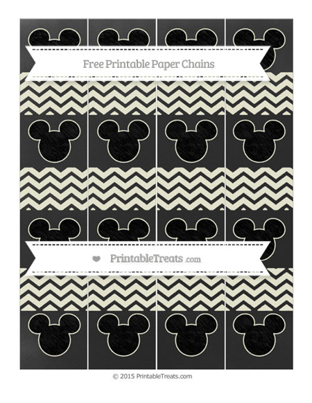 Free Beige Chevron Chalk Style Mickey Mouse Paper Chains
