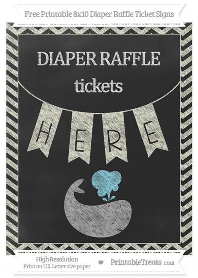 Free Beige Chevron Chalk Style Whale 8x10 Diaper Raffle Ticket Sign