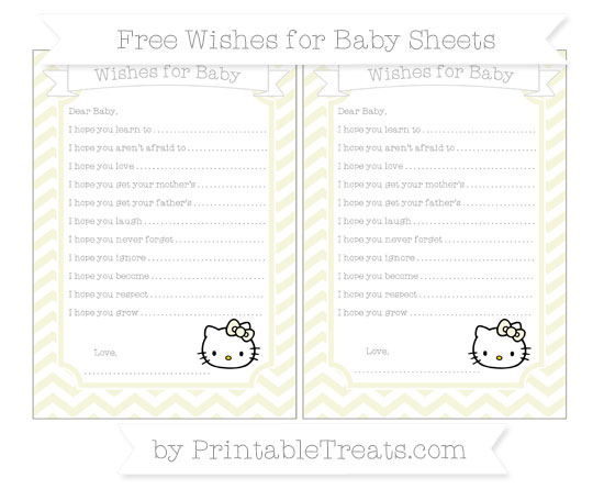Free Beige Chevron Hello Kitty Wishes for Baby Sheets