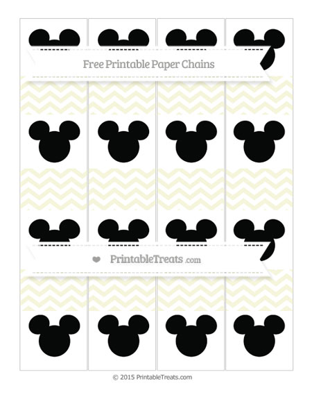 Free Beige Chevron Mickey Mouse Paper Chains
