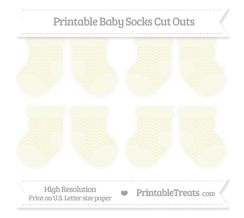 Free Beige Chevron Small Baby Socks Cut Outs