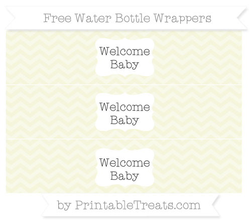 Free Beige Chevron Welcome Baby Water Bottle Wrappers