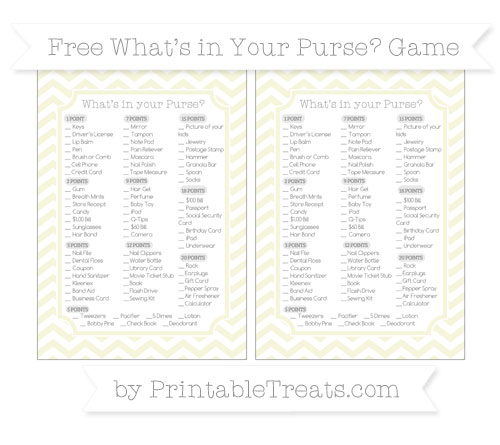 Free Beige Chevron What's in Your Purse Baby Shower Game