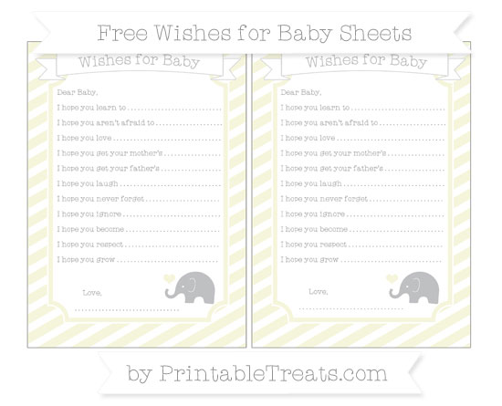 Free Beige Diagonal Striped Baby Elephant Wishes for Baby Sheets