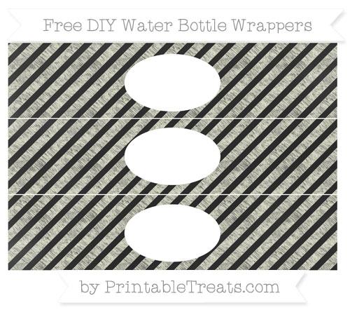 Free Beige Diagonal Striped Chalk Style DIY Water Bottle Wrappers