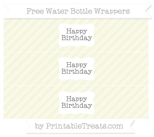 Free Beige Diagonal Striped Happy Birhtday Water Bottle Wrappers