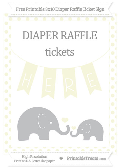 Free Beige Dotted Elephant 8x10 Diaper Raffle Ticket Sign