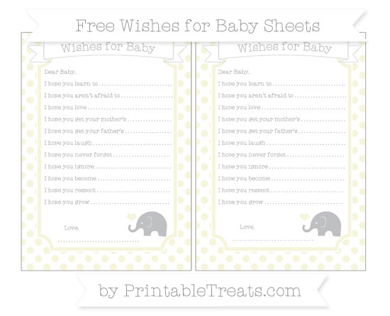 Free Beige Dotted Pattern Baby Elephant Wishes for Baby Sheets
