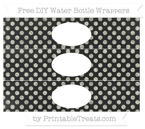 Free Beige Dotted Pattern Chalk Style DIY Water Bottle Wrappers
