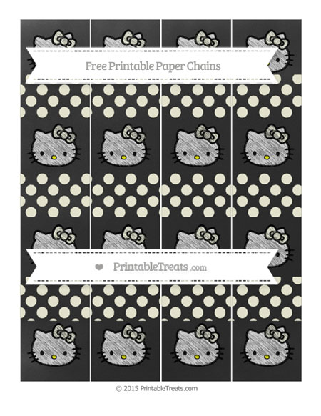 Free Beige Dotted Pattern Chalk Style Hello Kitty Paper Chains