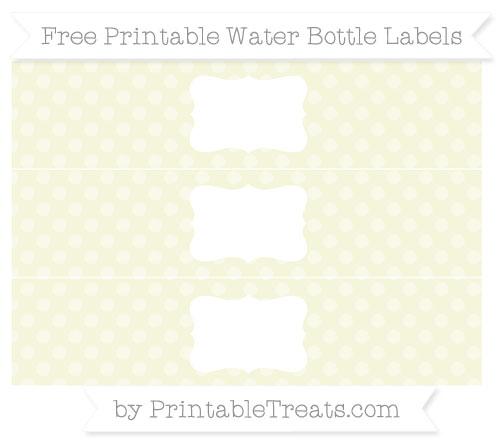 Free Beige Dotted Pattern Water Bottle Labels