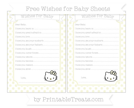 Free Beige Dotted Pattern Hello Kitty Wishes for Baby Sheets