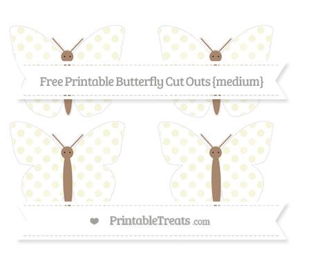 Free Beige Dotted Pattern Medium Butterfly Cut Outs
