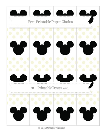Free Beige Dotted Pattern Mickey Mouse Paper Chains