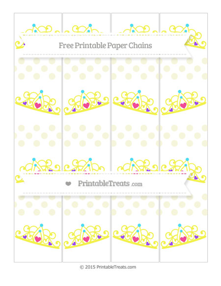Free Beige Dotted Pattern Princess Tiara Paper Chains