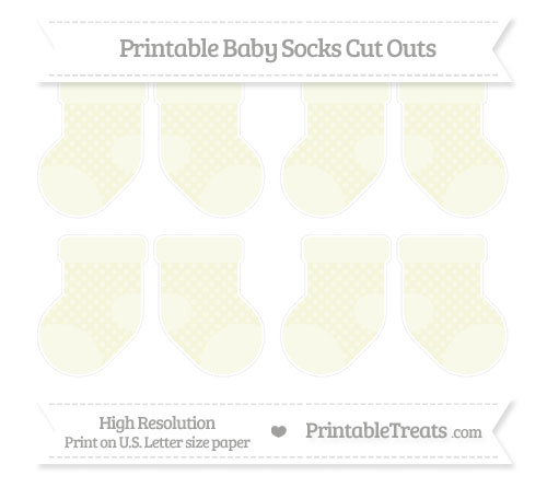 Free Beige Dotted Pattern Small Baby Socks Cut Outs