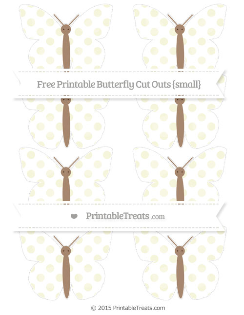 Free Beige Dotted Pattern Small Butterfly Cut Outs