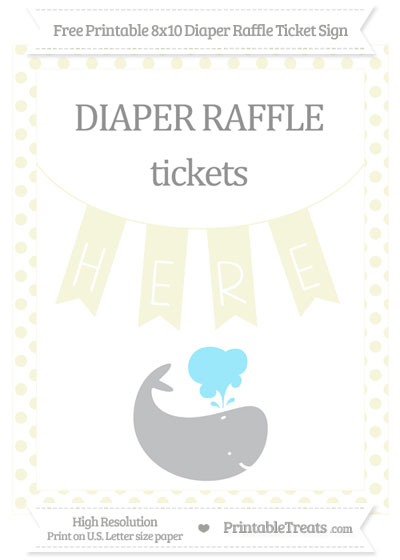Free Beige Dotted Whale 8x10 Diaper Raffle Ticket Sign