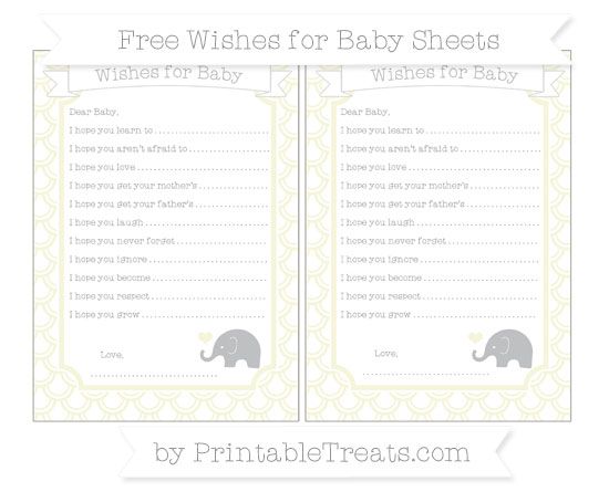 Free Beige Fish Scale Pattern Baby Elephant Wishes for Baby Sheets