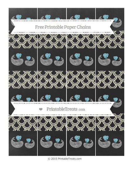 Free Beige Fish Scale Pattern Chalk Style Baby Whale Paper Chains