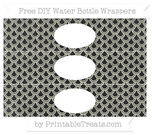 Free Beige Fish Scale Pattern Chalk Style DIY Water Bottle Wrappers