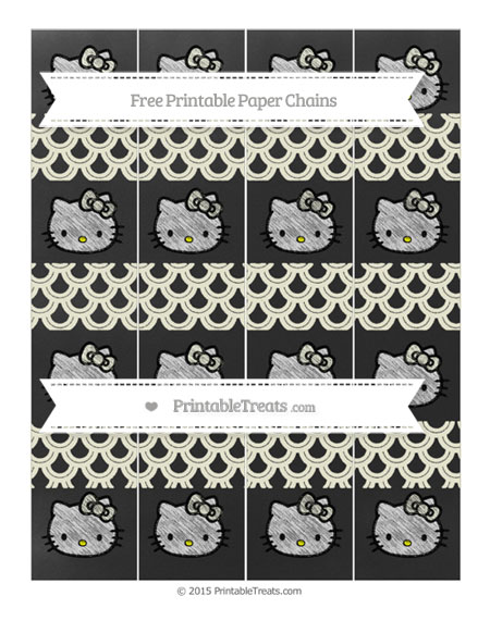 Free Beige Fish Scale Pattern Chalk Style Hello Kitty Paper Chains