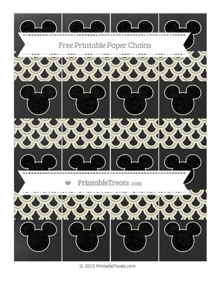 Free Beige Fish Scale Pattern Chalk Style Mickey Mouse Paper Chains
