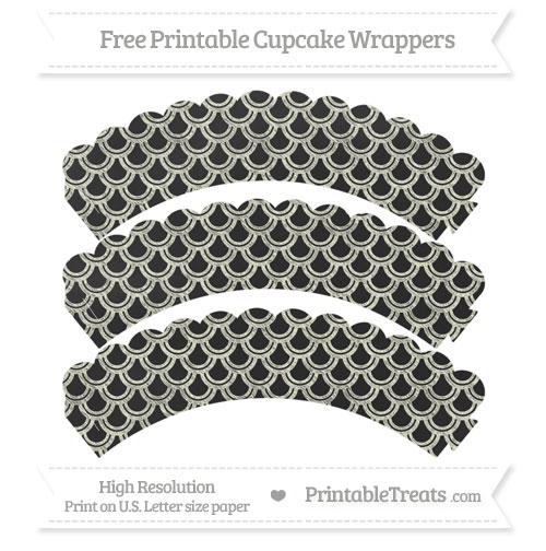 Free Beige Fish Scale Pattern Chalk Style Scalloped Cupcake Wrappers