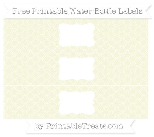 Free Beige Fish Scale Pattern Water Bottle Labels
