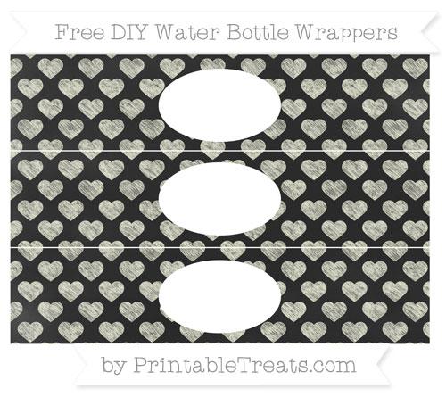 Free Beige Heart Pattern Chalk Style DIY Water Bottle Wrappers