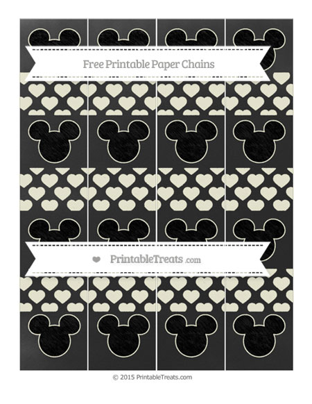 Free Beige Heart Pattern Chalk Style Mickey Mouse Paper Chains