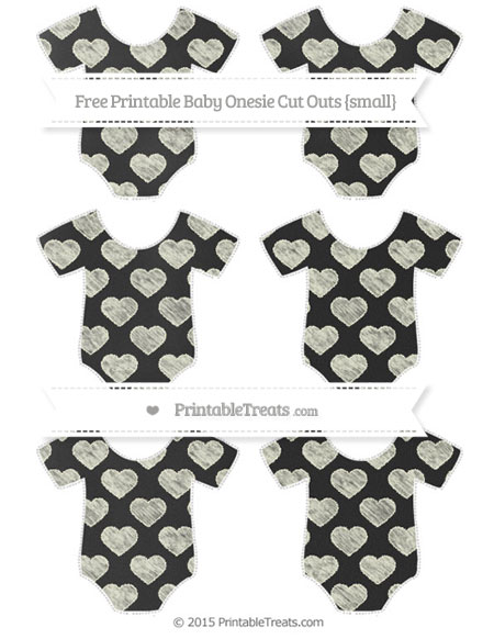 Free Beige Heart Pattern Chalk Style Small Baby Onesie Cut Outs