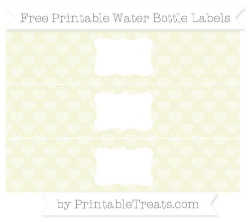 Free Beige Heart Pattern Water Bottle Labels