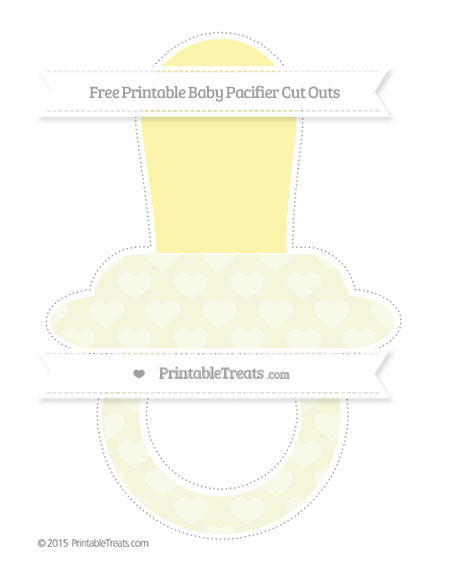 Free Beige Heart Pattern Extra Large Baby Pacifier Cut Outs