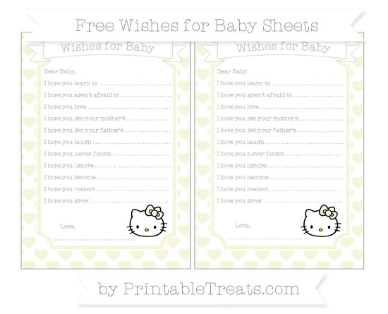 Free Beige Heart Pattern Hello Kitty Wishes for Baby Sheets
