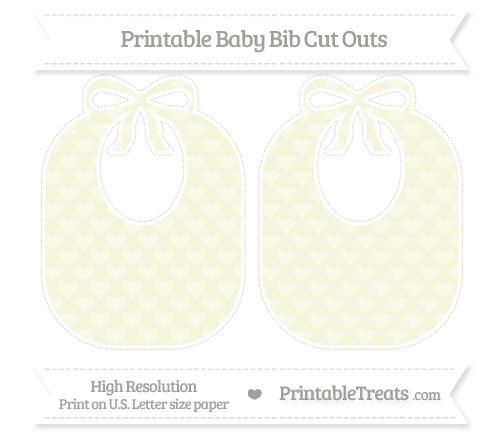 Free Beige Heart Pattern Large Baby Bib Cut Outs