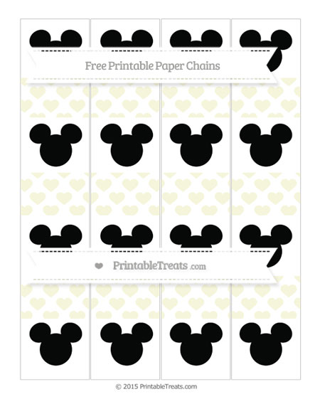 Free Beige Heart Pattern Mickey Mouse Paper Chains