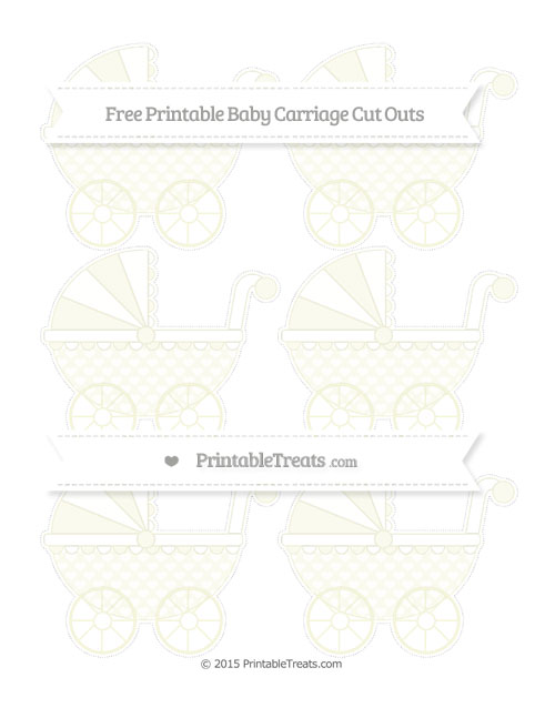 Free Beige Heart Pattern Small Baby Carriage Cut Outs