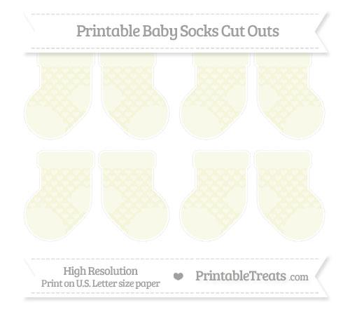 Free Beige Heart Pattern Small Baby Socks Cut Outs