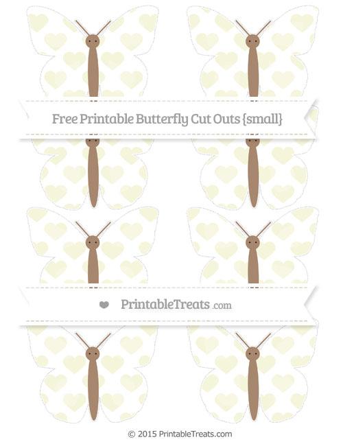 Free Beige Heart Pattern Small Butterfly Cut Outs
