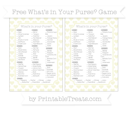 Free Beige Heart Pattern What's in Your Purse Baby Shower Game