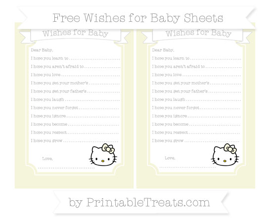 Free Beige Hello Kitty Wishes for Baby Sheets