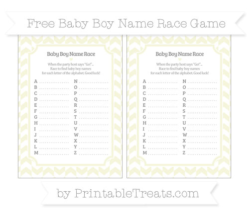 Free Beige Herringbone Pattern Baby Boy Name Race Game